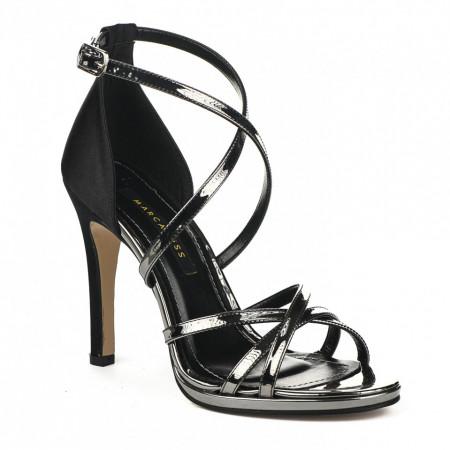 Slika Sandale na štiklu 7326 crno srebrne