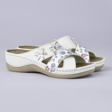 Slika Anatomske papuče 102/9 bela-cvetna
