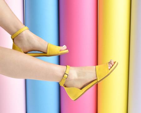 Slika Kožne ravne sandale 2035 žute