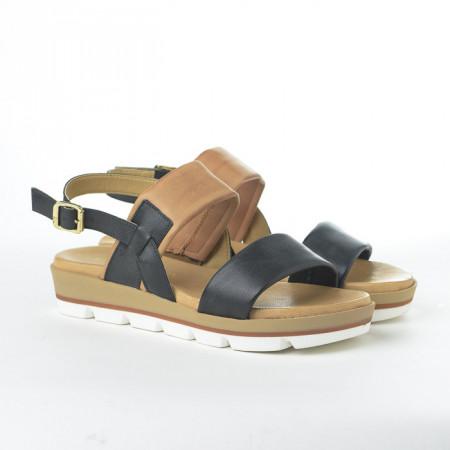 Slika Kožne ravne sandale 234020 crne
