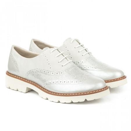 Slika Cipele oksfordice C1801 belo srebrne
