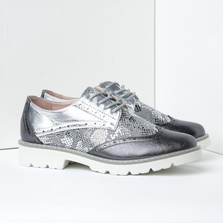 Slika Cipele oksfordice C2110 crno srebrne
