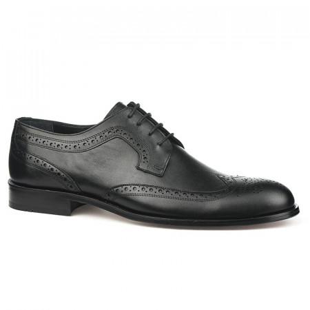 Slika Kožne muške cipele sa kožnim đonom 837 crne