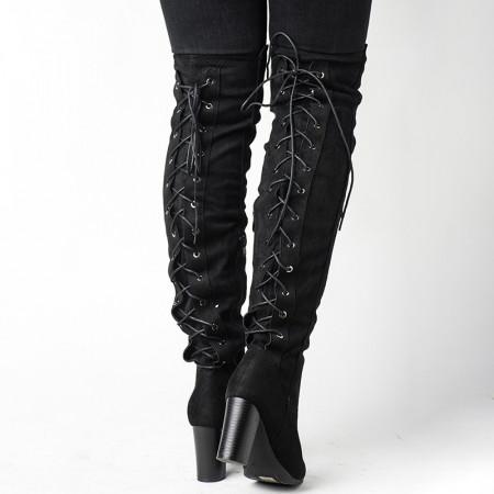 Slika Čizme preko kolena na štiklu LX191832 crne