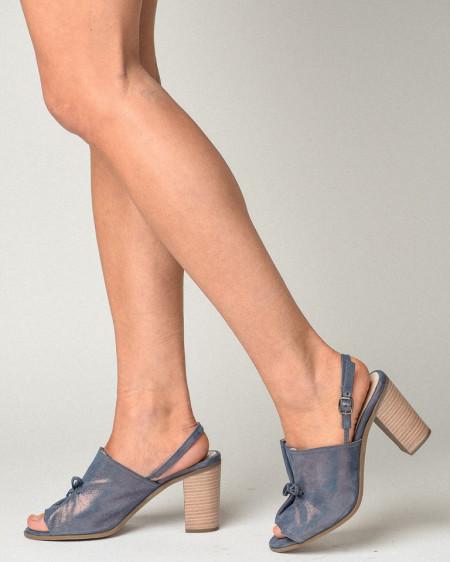 Slika Kožne sandale na štiklu S3555 teget