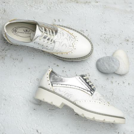 Slika Cipele oksfordice C2110 belo srebrne