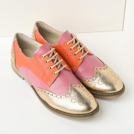 Slika Kožne ženske cipele B15/36 narandžasto zlatne
