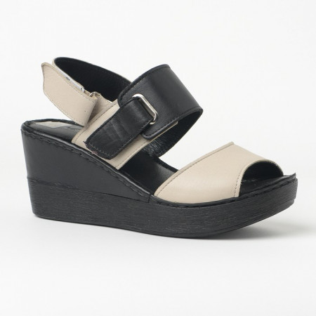 Slika Kožne sandale na ortoped petu 1006 crno/bež