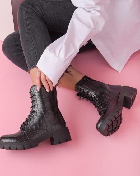 Ženske poluduboke čizme na debelom đonu ESL2021 crne