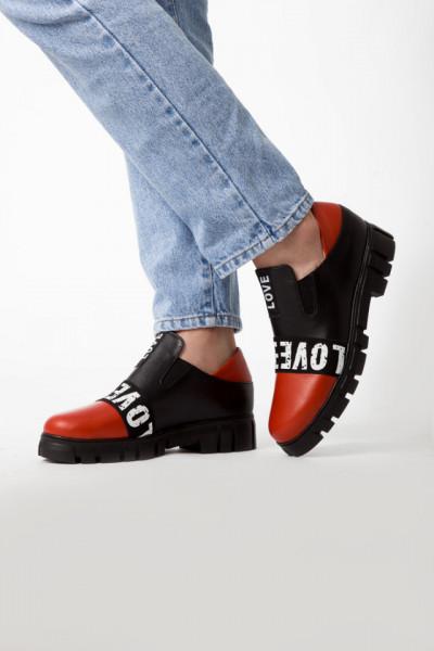 Slika Kožne ženske cipele A5-18/7 crveno/crna