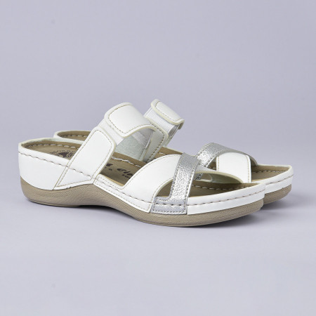 Slika Anatomske papuče 103/8 belo-srebrna