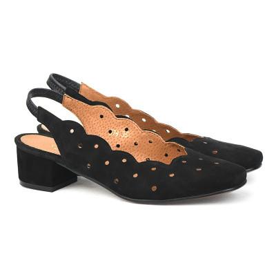 Kožne cipele sa otvorenom petom M978 crne