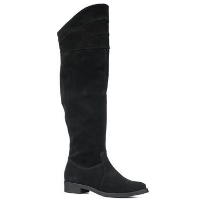 Kožne čizme preko kolena 3-905 crne