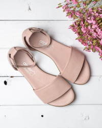 Kožne ravne sandale 2035 puder roze
