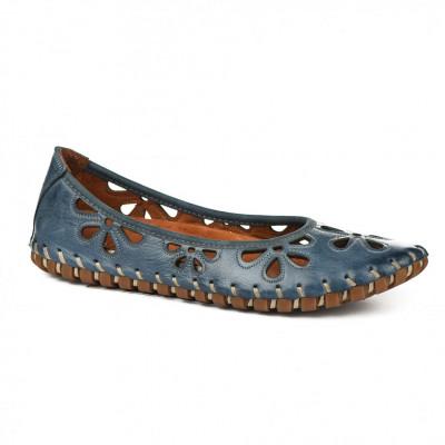 Kožne ženske baletanke K1206/535 plave