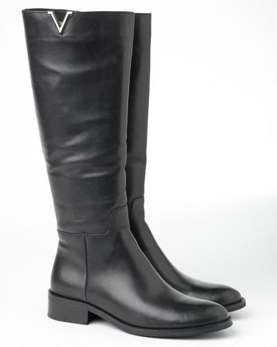 Kožne ženske ravne čizme 216-3649 crne