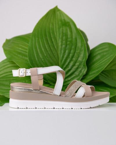 Kožne ženske sandale ZR03 nud/belo