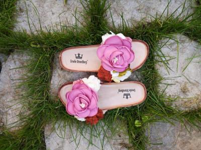 Ravne papuče A7 pink cvet