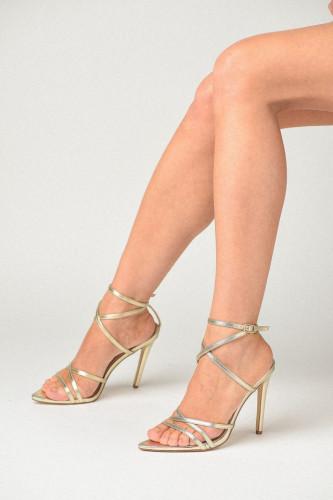 Špic sandale na tanku štiklu S2501 zlatne