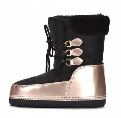Tople ženske poluduboke čizme LH592001 crno-zlatne