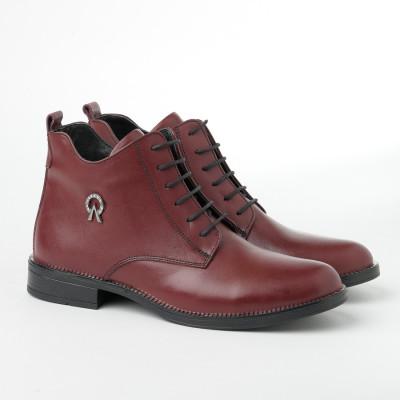 Ženske kožne poluduboke cipele 91115 bordo