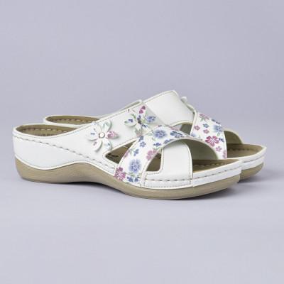 Anatomske papuče 102/9 bela-cvetna