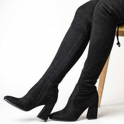 Čizme preko kolena na stiklu SC025 crne