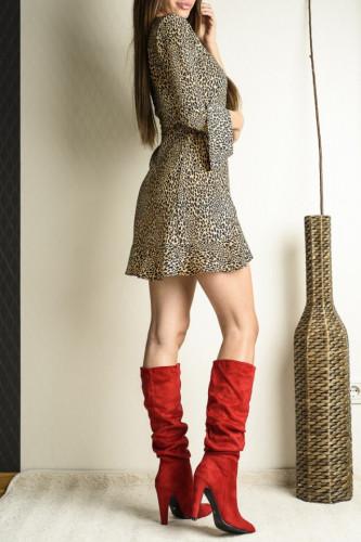 Duboke čizme na štiklu LX561937 crvene