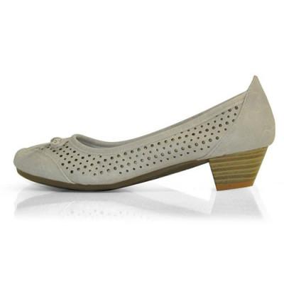 Kožne cipele sa malom štiklom L01A407 sive
