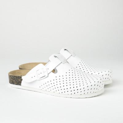Kožne papuče/klompe 1250 bele