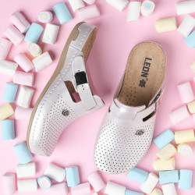 Kožne papuče/klompe 950 sedef