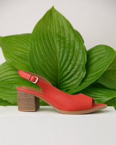 Kožne sandale na štiklu ALR1 crvene