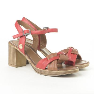 Kožne sandale na štiklu H3504/R057 crveno-kamel
