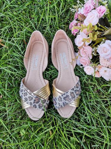 Kožne ženske baletanke AL116 leopard/zlatne