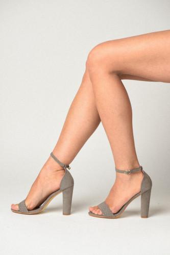 Sandale na štiklu 8158-B550 sive