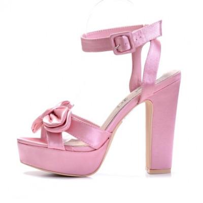 Satenske sandale na štiklu LS39800 roze