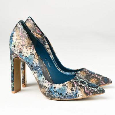 Cipele na štiklu L241958 zmijski dezen