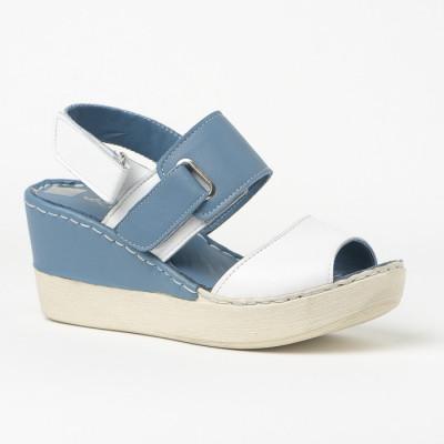 Kožne sandale na ortoped petu 1006 plavo/bele