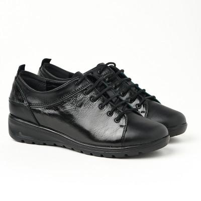 Kožne ženske cipele 18-136 crne