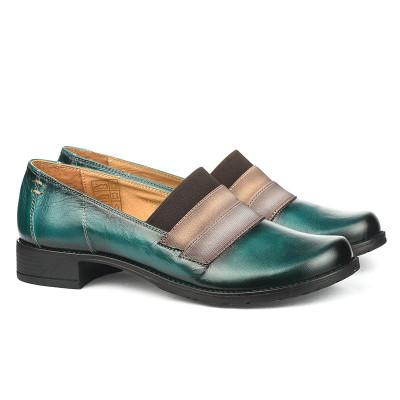 Kožne ženske cipele 2-807 zelene