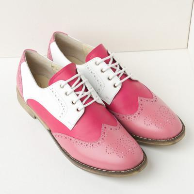Kožne ženske cipele B15 roze/bela