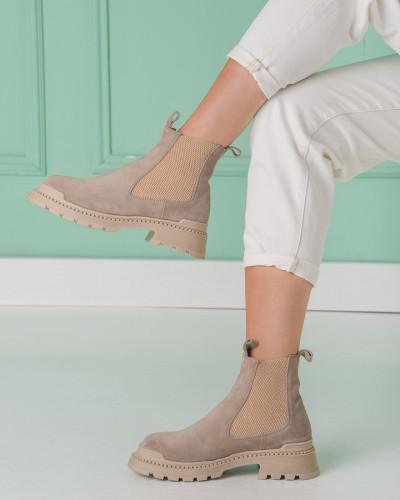Kožne ženske čizme H6211/60 bež