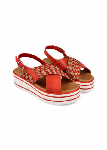 Kožne ženske sandale 4404 krem