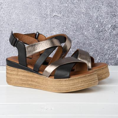 Kožne ženske sandale ALD1093 crne/metalik