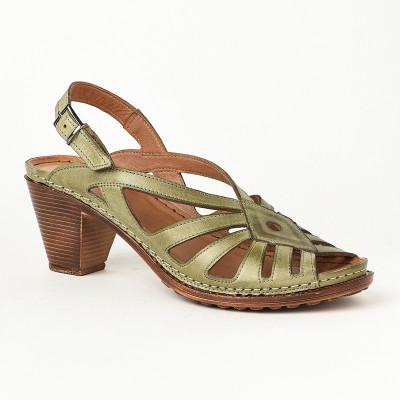Kožne ženske sandale K1896/519 zelene