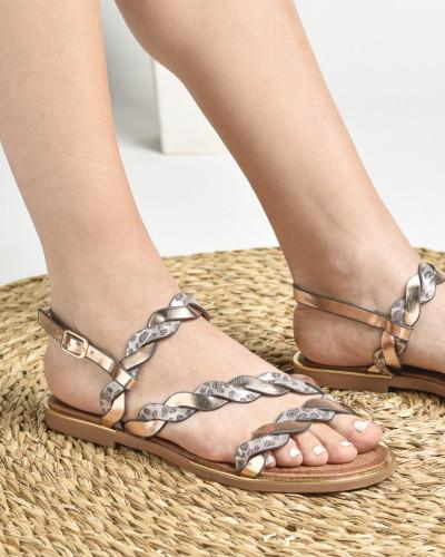Ravne sandale LS022034 srebrne
