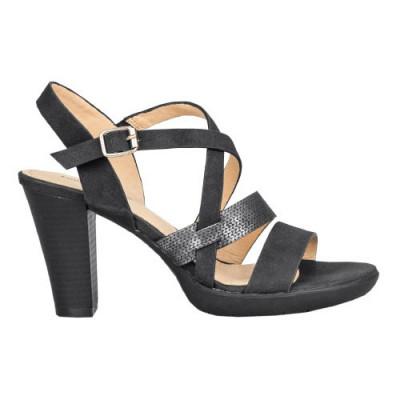 Sandale na stabilnu štiklu S240 crne