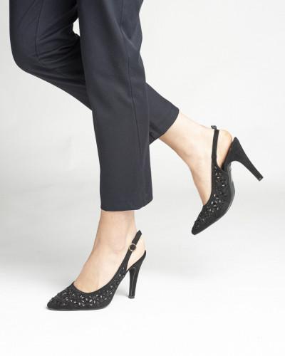 Sandale na štiklu F75 crne