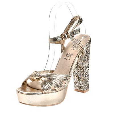 Sandale na štiklu LS39807 zlatne
