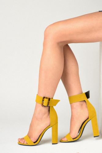 Sandale na štiklu LS91604 žute